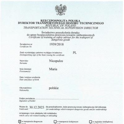 Świadectwo przeszkolenia doradcy ds. bezpieczeństwa przewozu towarów niebezpiecznych, świadectwo nr 1939/2018