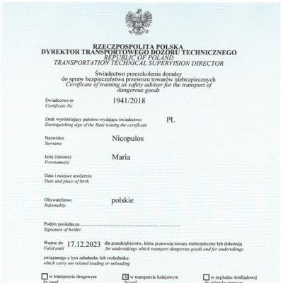 Świadectwo przeszkolenia doradcy ds. bezpieczeństwa przewozu towarów niebezpiecznych, świadectwo nr 1941/2018