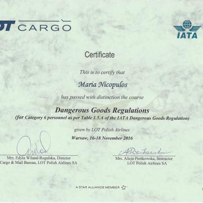 Certyfikat doradcy w transporcie lotniczym IATA DGR kat. 6, 2016