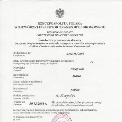 Świadectwo doradcy ds. bezpieczeństwa w zakresie przewozu towarów niebezpiecznych w transporcie drogowym, świadectwo nr 6/WITD_XIV/2008
