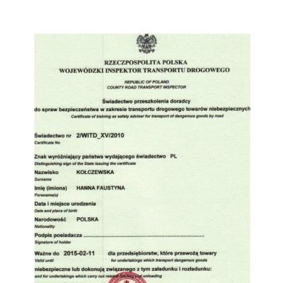 Świadectwo doradcy ds. bezpieczeństwa w zakresie przewozu towarów niebezpiecznych w transporcie drogowym, świadectwo nr 040/OL/2003