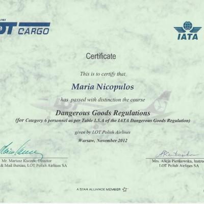 Certyfikat doradcy w transporcie lotniczym IATA DGR kat. 6, 2012<br><br>