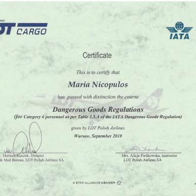 Certyfikat doradcy w transporcie lotniczym IATA DGR kat. 6, 2010<br><br>