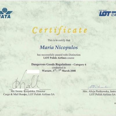 Certyfikat doradcy w transporcie lotniczym IATA DGR kat. 6, 2008