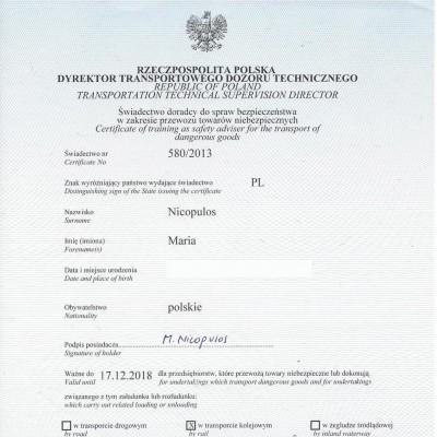 Świadectwo doradcy ds. bezpieczeństwa w zakresie przewozu towarów niebezpiecznych w transporcie drogowym,świadectwo nr 580/2013