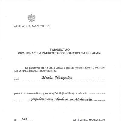 Świadectwo kwalifikacji w zakresie gospodarowania odpadami Nr 2/05<br><br>
