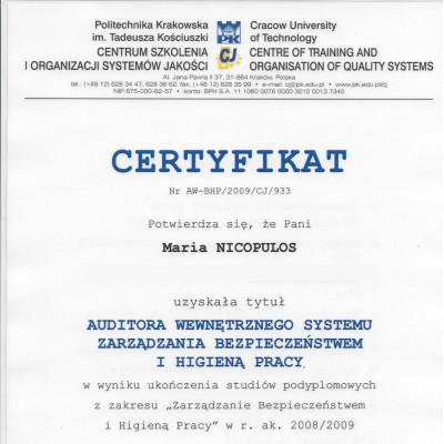 Certyfikat auditora wewnętrznego systemu zarządzania BHP<br><br>
