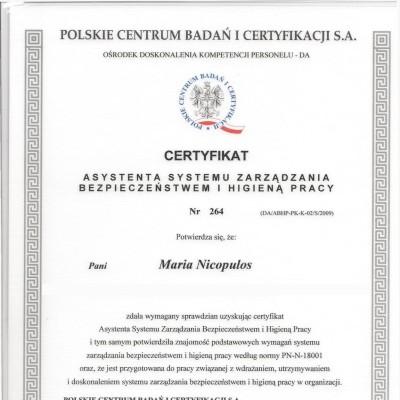 Certyfikat asystenta systemu zarządzania BHP<br>&nbsp;<br>&nbsp;<br>&nbsp;