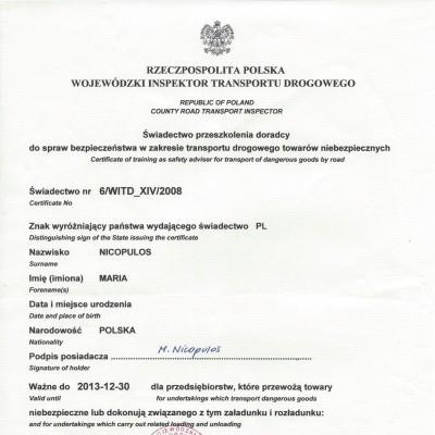 Świadectwo doradcy ds. bezpieczeństwa w zakresie przewozu towarów niebezpiecznych w transporcie drogowym, świadectwo nr 469/2013<br>